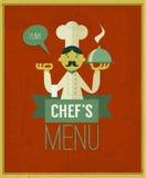 葡萄酒菜单 减速火箭的设计模板 传染媒介厨师的菜单 图库摄影