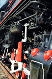 葡萄酒蒸汽火车机车的轮子细节 免版税库存图片