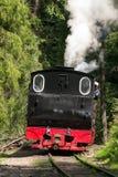 葡萄酒蒸汽火车机车-后面看法 免版税库存照片