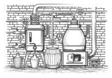 葡萄酒蒸馏设备 向量例证