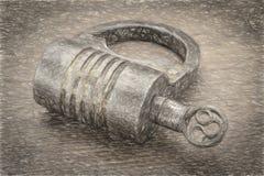 葡萄酒螺丝口的铁挂锁 免版税库存图片