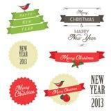葡萄酒被设置的圣诞节徽章 免版税库存照片