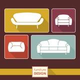 葡萄酒被设置的扶手椅子和沙发象。顶楼家具概念 库存照片