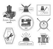 葡萄酒裁缝商标或徽章 库存图片