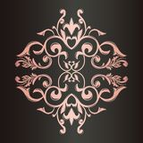 葡萄酒装饰品 背景颜色黑暗的装饰框架金子红色 一个富有的样式 花和叶子 皇族释放例证