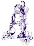 葡萄酒装饰最初在A上写字 免版税库存图片
