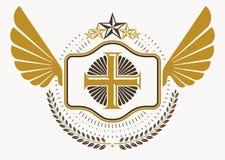 葡萄酒装饰纹章学传染媒介象征组成与老鹰wi 免版税库存照片