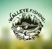 葡萄酒角膜白斑渔象征和标签 免版税库存图片