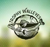 葡萄酒角膜白斑渔象征和标签 免版税库存照片