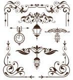 葡萄酒设计元素装饰品构筑角落遏制减速火箭的贴纸和锦缎传染媒介集合例证 库存图片