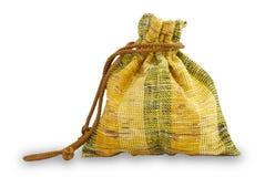 葡萄酒货币的织品袋子   免版税库存照片