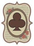 葡萄酒赌博娱乐场啤牌三叶草卡片,传染媒介 免版税库存照片