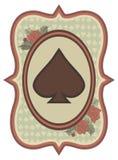 葡萄酒赌博娱乐场啤牌锹卡片,传染媒介 图库摄影