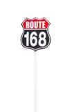 葡萄酒路线168在白色背景的路标 库存照片