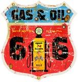 葡萄酒路线66气体标志 库存照片