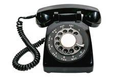 葡萄酒轮循拨号被隔绝的黑色电话 库存照片