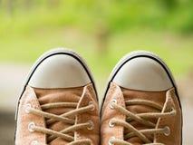 葡萄酒软的棕色妇女运动鞋鞋子特写镜头在迷离的在背景中绿化自然 旅行冒险和旅途概念 图库摄影