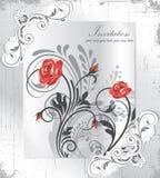 葡萄酒邀请文本的卡片有花卉背景和地方 免版税库存图片