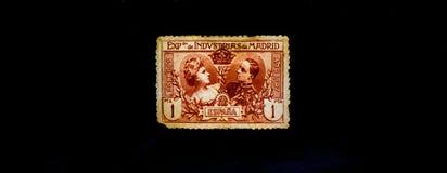 葡萄酒邮票,西班牙1907年,美好的GRAFICS 库存图片