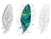 葡萄酒部族种族手拉的五颜六色的羽毛的汇集,例证 图库摄影