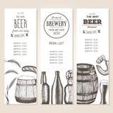 葡萄酒酒吧或啤酒厂的啤酒名单 客栈菜单 在墨水被设置画的横幅 免版税库存图片