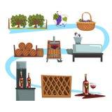 葡萄酒酿造过程阶段,从葡萄动画片传染媒介例证的生产饮料 库存例证