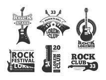 葡萄酒重的岩石、爵士乐队、吉他商店、音乐传染媒介商标和标号组与声学吉他 免版税库存图片