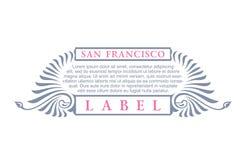 葡萄酒金与在旧金山上写字的行家标签 您的标志的商标模板,海报,衣物,徽章 免版税库存照片