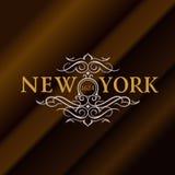 葡萄酒金与在纽约上写字的行家标签 您的标志的商标模板,海报,衣物,徽章 免版税库存图片