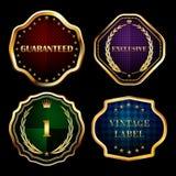 葡萄酒金子构筑标签汇集设计元素 免版税图库摄影