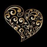 葡萄酒金子装饰爱心脏样式 手拉的线艺术 免版税库存图片