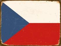 葡萄酒金属标志-捷克旗子 库存照片