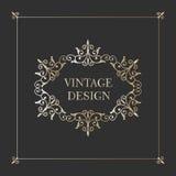 葡萄酒金框架 古色古香的装饰要素 免版税图库摄影