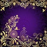 葡萄酒金紫罗兰色框架 免版税库存照片