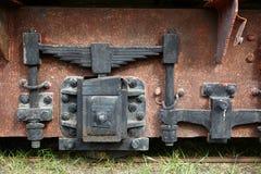 葡萄酒铁路支架的细节 免版税图库摄影