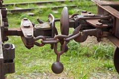葡萄酒铁路支架的细节 免版税库存照片