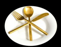 葡萄酒银色扁平的餐具 免版税库存照片