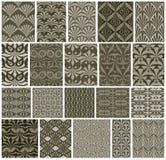 葡萄酒铺磁砖无缝的样式, 20个单色设计传染媒介se 图库摄影