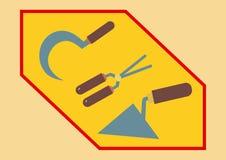 葡萄酒镰刀,钳子,修平刀减速火箭的蓝色褐色 免版税库存照片
