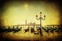 葡萄酒长平底船的样式图片在威尼斯盐水湖的  免版税库存图片