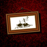 葡萄酒长方形宝石框架 库存照片