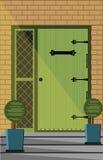 葡萄酒门入口门面 免版税库存图片