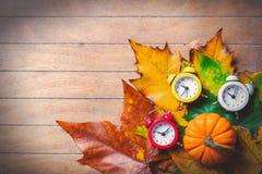 葡萄酒闹钟和槭树叶子用南瓜 库存照片
