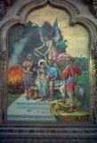 葡萄酒陶瓷马赛克绘画在durbar大厅,laxmi vilas宫殿,vadodara外 免版税库存照片