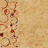 葡萄酒难看的东西与咖啡杯的纸纹理追踪和咖啡 库存照片