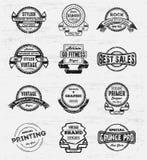 葡萄酒难看的东西商标徽章 免版税库存照片