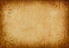 葡萄酒难看的东西羊皮纸背景时钟表盘 皇族释放例证