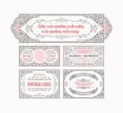 葡萄酒集合减速火箭的卡片 模板贺卡婚礼邀请 线书法框架 库存例证