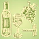 葡萄酒集合 与酒杯,葡萄,瓶的手拉的例证 设置贴纸 皇族释放例证