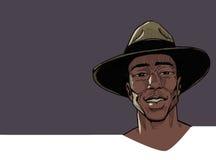 葡萄酒非洲人画象 图库摄影